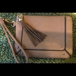 Charming Tan Leather Wristlet